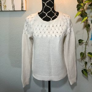 Mossimo Knit White Sweater | Sz S